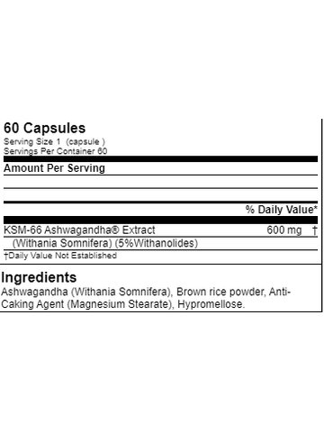 Tested Nutrition Ashwagandha, 60 Caps Dose
